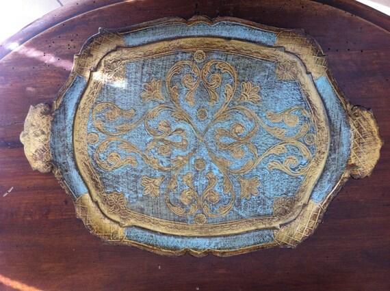 Vassoio da portata di legno blu e oro realizzato in italia - Vassoio da portata ...