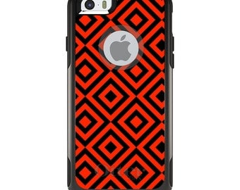 OtterBox Commuter for Apple iPhone 5S SE 5C 6 6S 7 8 PLUS X 10 - Custom Monogram - Any Colors - Black Red Diamond Pattern Geometric