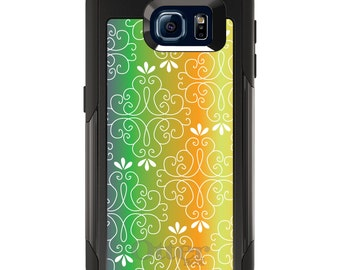 OtterBox Commuter for Galaxy S4 / S5 / S6 / S7 / S8 / S8+ / Note 4 5 8 - CUSTOM Monogram - Any Colors - Purple Green Orange Yellow Gradient