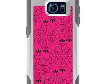 OtterBox Commuter for Galaxy S4 / S5 / S6 / S7 / S8 / S8+ / Note 4 5 8 - CUSTOM Monogram - Any Colors - Neon Pink Black Floral Pattern