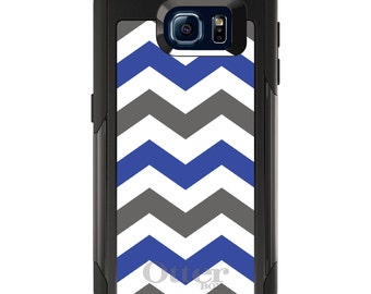 OtterBox Commuter for Galaxy S4 / S5 / S6 / S7 / S8 / S8+ / Note 4 5 8 - CUSTOM Monogram - Any Colors - Blue Grey Chevron Stripes