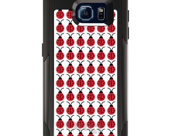 OtterBox Commuter for Galaxy S4 / S5 / S6 / S7 / S8 / S8+ / Note 4 / 5 - CUSTOM Monogram - Any Colors - Red White Black Lady Bugs