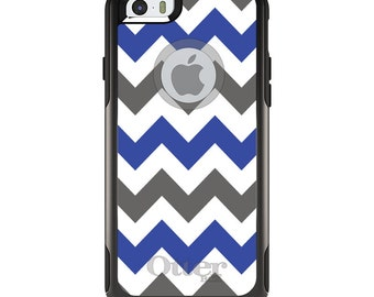OtterBox Commuter for Apple iPhone 5S SE 5C 6 6S 7 8 PLUS X 10 - Custom Monogram - Any Colors - Blue Grey Chevron Stripes