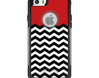OtterBox Commuter for Apple iPhone 5S SE 5C 6 6S 7 8 PLUS X 10 - Custom Monogram - Any Colors - Black White Red Chevron