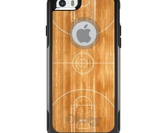 OtterBox Commuter for Apple iPhone 5S SE 5C 6 6S 7 8 PLUS X 10 - Custom Monogram - Any Colors - Basketball Court Layout