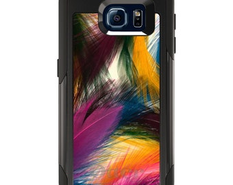 OtterBox Commuter for Galaxy S4 / S5 / S6 / S7 / S8 / S8+ / Note 4 / 5 - CUSTOM Monogram - Any Colors - Multi Color Feathers