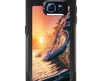 OtterBox Commuter for Galaxy S4 / S5 / S6 / S7 / S8 / S8+ / Note 4 5 8 - CUSTOM Monogram - Any Colors - Ocean Wave Sunset