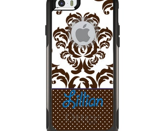 OtterBox Commuter for Apple iPhone 5S SE 5C 6 6S 7 8 PLUS X 10 - Custom Monogram or Image - Brown White Damask Dots Blue
