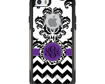 OtterBox Commuter for Apple iPhone 5S SE 5C 6 6S 7 8 PLUS X 10 - Custom Monogram or Image - Black White Purple Damask Chevron