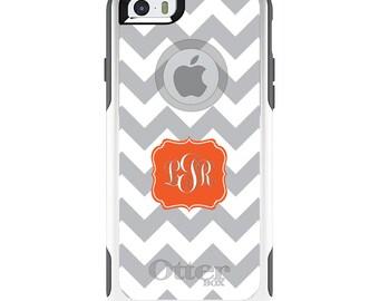 OtterBox Commuter for Apple iPhone 5S SE 5C 6 6S 7 8 PLUS X 10 - Custom Monogram or Image - Grey White Chevron Orange Frame