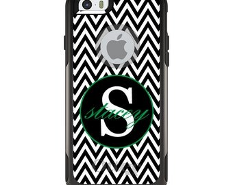 OtterBox Commuter for Apple iPhone 5S SE 5C 6 6S 7 8 PLUS X 10 - Custom Monogram or Image - Black White Chevron Green
