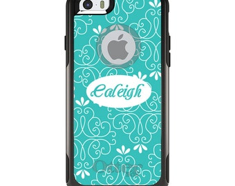 OtterBox Commuter for Apple iPhone 5S SE 5C 6 6S 7 8 PLUS X 10 - Custom Monogram or Image - Teal White Floral Name