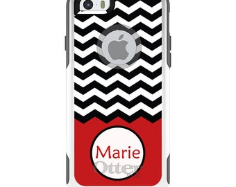 OtterBox Commuter for Apple iPhone 5S SE 5C 6 6S 7 8 PLUS X 10 - Custom Monogram or Image - Black White Chevron Red Name