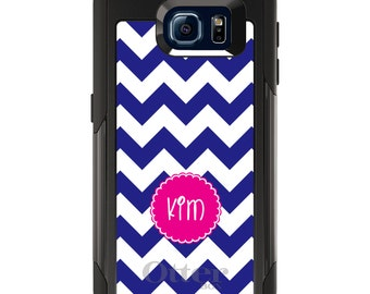 OtterBox Commuter for Galaxy S4 / S5 / S6 / S7 / S8 / S8+ / Note 4 5 8 - CUSTOM Monogram Name Initials - Blue White Pink Chevron Name