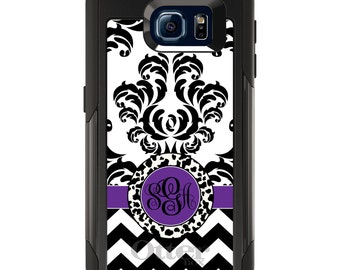 OtterBox Commuter for Galaxy S4 / S5 / S6 / S7 / S8 / S8+ / Note 4 5 8 - CUSTOM Monogram Name Initials - Black White Purple Damask Chevron