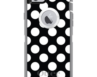 CUSTOM OtterBox Defender Case for Apple iPhone 6 6S 7 8 PLUS X 10 - Personalized Monogram - White & Black Polka Dots