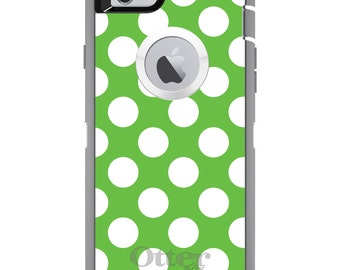 CUSTOM OtterBox Defender Case for Apple iPhone 6 6S 7 8 PLUS X 10 - Personalized Monogram - White & Green Polka Dots