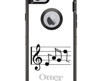 CUSTOM OtterBox Defender Case for Apple iPhone 6 6S 7 8 PLUS X 10 - Personalized Monogram - Treble Staff Music Notes