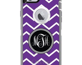 CUSTOM OtterBox Defender Case for Apple iPhone 6 6S 7 8 PLUS X 10 - Personalized Monogram - Purple White Chevron Initial