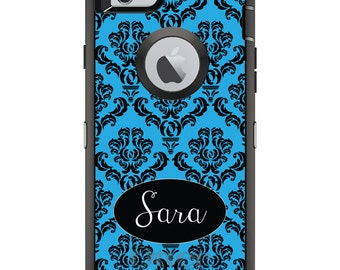 CUSTOM OtterBox Defender Case for Apple iPhone 6 6S 7 8 PLUS X 10 - Personalized Monogram - Black Blue Damask Oval