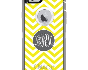 Chevron OtterBox Defender / Apple iPhone OR Samsung Galaxy / White Yellow Grey / Custom Personalized Monogrammed / Any Color / Any Font