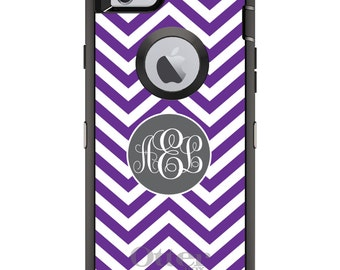 CUSTOM OtterBox Defender Case for Apple iPhone 6 6S 7 8 PLUS X 10 - Personalized Monogram - Purple White Grey Chevron Circle