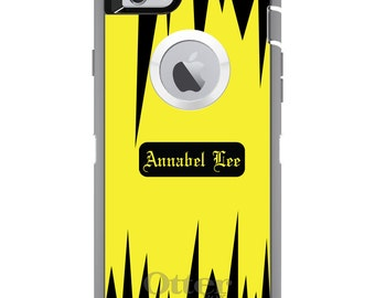 CUSTOM OtterBox Defender Case for Apple iPhone 6 6S 7 8 PLUS X 10 - Personalized Monogram - Yellow Black Spikes Zig Zag