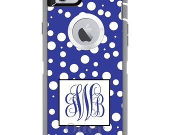 CUSTOM OtterBox Defender Case for Apple iPhone 6 6S 7 8 PLUS X 10 - Personalized Monogram - Blue White Dots Blue Initials