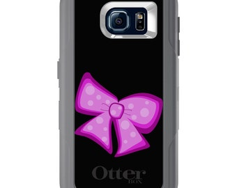 Custom OtterBox Defender for Galaxy S5 S6 S7 S8 S8+ Note 5 8 Any Color / Font - Pink Black Bow Ribbon