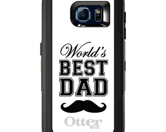 Custom OtterBox Defender for Galaxy S5 S6 S7 S8 S8+ Note 5 8 Any Color / Font - Black World's Best Dad Moustache