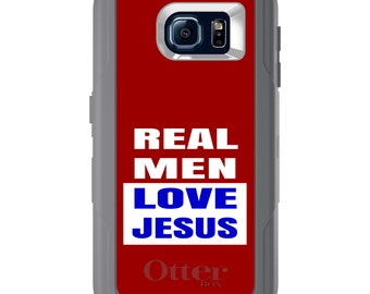 Custom OtterBox Defender for Galaxy S5 S6 S7 S8 S8+ Note 5 8 Any Color / Font - Red Blue Real Men Love Jesus
