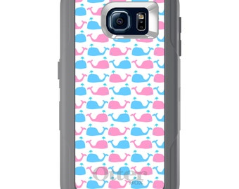 Custom OtterBox Defender for Galaxy S5 S6 S7 S8 S8+ Note 5 8 Any Color / Font - Blue Pink Cartoon Whales