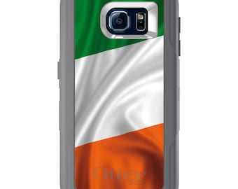 Custom OtterBox Defender for Galaxy S5 S6 S7 S8 S8+ Note 5 8 Any Color / Font - Ireland Waving Flag