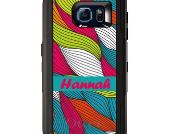 Custom OtterBox Defender for Galaxy S5 S6 S7 S8 S8+ Note 5 8 Any Color / Font - Pink Blue Green White Waves
