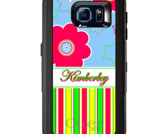 Custom OtterBox Defender for Galaxy S5 S6 S7 S8 S8+ Note 5 8 Any Color / Font - Bright Blue Pink Stripes