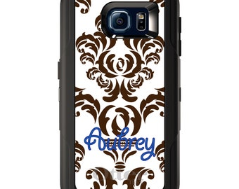 Custom OtterBox Defender for Galaxy S5 S6 S7 S8 S8+ Note 5 8 Any Color / Font - Brown White Damask Blue Name