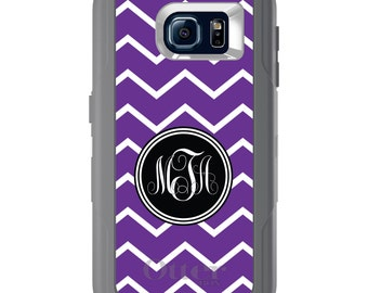 Custom OtterBox Defender for Galaxy S5 S6 S7 S8 S8+ Note 5 8 Any Color / Font - Purple White Chevron Initial