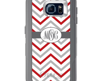 Custom OtterBox Defender for Galaxy S5 S6 S7 S8 S8+ Note 5 8 Any Color / Font - Red White Grey Chevron Stripes