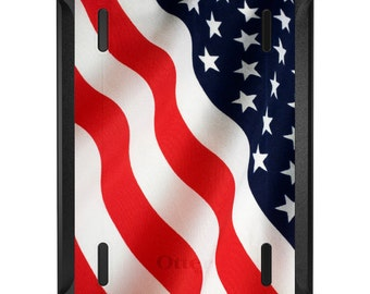 Custom OtterBox Defender for Apple iPad 2 3 4 / Air 1 2 / Mini 1 2 3 4 - CUSTOM Monogram - Red White Blue United States Flag USA