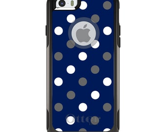 OtterBox Commuter for Apple iPhone 5S SE 5C 6 6S 7 8 PLUS X 10 - Custom Monogram - Duke University Blue Devils Colors - Polka Dots Pattern