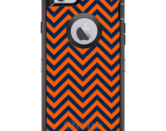 Custom OtterBox Defender Case for Apple iPhone 6 6S 7 8 PLUS X 10 - Monogram - Syracuse University SU Orange Colors - Chevron