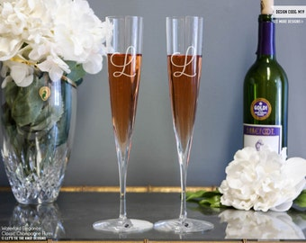 Waterford Elegance Trumpet Monogram Champagne Flutes (Set of TWO) Custom Engraved Toasting Flutes, Personalized Wedding Gift Monogrammed