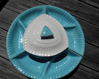 Vintage California Pottery USA Bright Turquoise and White Lazy Susan Appetizer Platter with Center Covered Dip Bowl