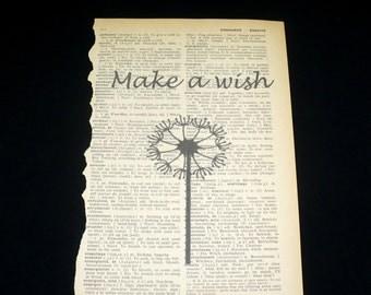Dandelion Wish Dictionary Art Print Home Decor Wall Art Book Page Art Minimalist Flower