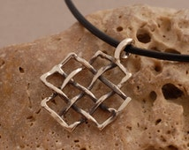 Men's Grid Cross Necklace, Oxidized Sterling Silver Cross Pendant, Unique Jewelry for Him ST679ox