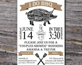 I do BBQ Invitation, BBQ Couples Shower, BBQ Invitation, Printable Invitation