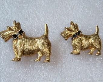 Signed Scotty Dog Pins. Dog Brooch Set. 2 Piece Figural Set.