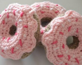Handmade crochet strawberry delight donut for imaginative play