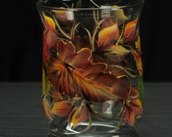 "6"" Tall Hurricane Candle Holder/ Fall Leaves /Centerpiece"