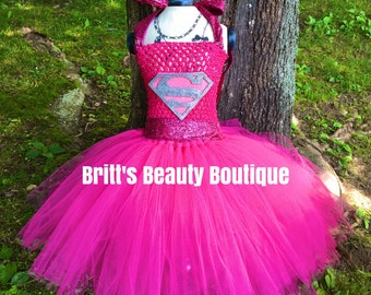 Inspired by Pink Superman Inspired Tutu Dress/Pageant Wear/Infant/Toddler/Girl